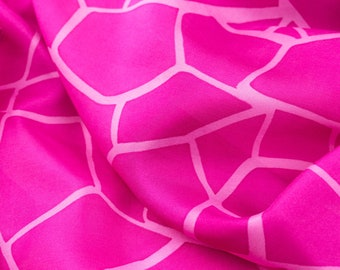 Garnet silk scarf. Long silk scarf or stole hand painted with a garnet pink geometric design. A silk anniversary gift for her ready to gift.
