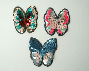 Colorful Butterfly Sequin Sew On Clothes Jacket Patch Blue Pink Applique