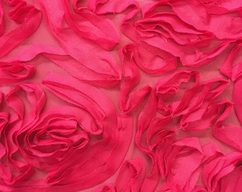 Spandex Novelty Bright Pink Roses Paris Stretch Fabric by the yard