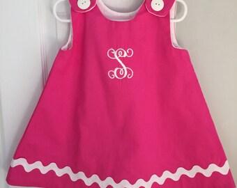 Pink Ric Rac A-Line Monogrammed Dress