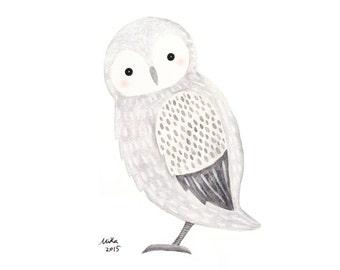Owl Decor Owl Baby Shower Gift Owl Painting Owl Nursery Decor Woodland Nursery Art Owl Gift Owl Print Cute Owl Monochrome Nursery Kids Room