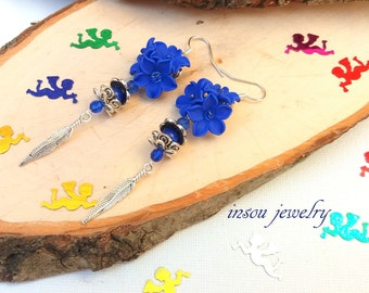 Blue Earrings, Dangle Earrings, Flower Earrings, Women Gift, Blue Earrings For Women, Floral Jewelry, Blue Jewelry, Statement Blue Earrings