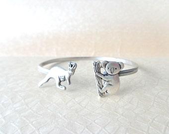 silver kangaroo koala bracelet wrap style