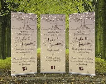 Sketch Tree Wedding Roller Banner - Large Format 80cm x 200cm