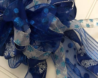 Christmas Tree Bow Topper Festivus Blue Snowflake Glittery Extra Large Bow Topper Tree Bow Christmas Bow READY TO SHIP Large Bow Topper