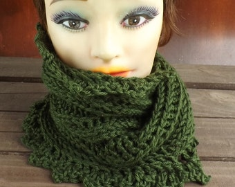 Dark Sage Green Crochet Scarf, Crochet Infinity Scarf, Crochet Cowl Scarf, Dark Sage Green Scarf, Lauren Crochet Scarf