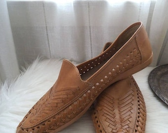 Vintage Woven Leather Slip On Huaraches ~ Men's 10 1/2 ~