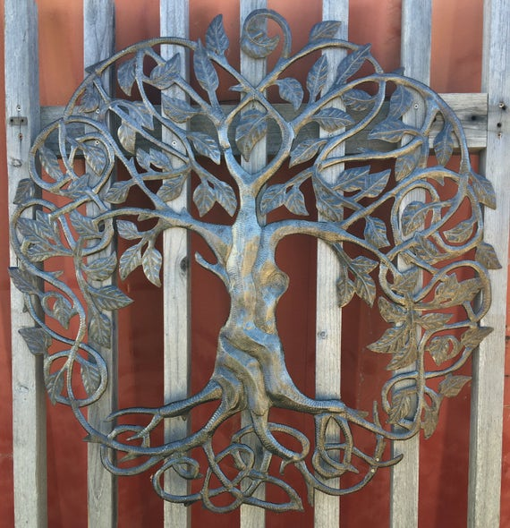 """Family Roots Tree of Life, Large Outdoor Wall Art, Quality Craftsmanship Recycled Metal Haiti, 33"""" X 33"""""""