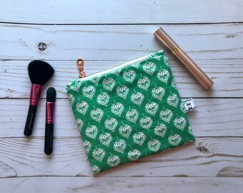 Zipper Pouch - Cosmetic Bag - Travel Makeup Pouch - Notions Pouch - Green Leaf Pouch - Pencil Pouch - Cosmetic Bag - Makeup Bag