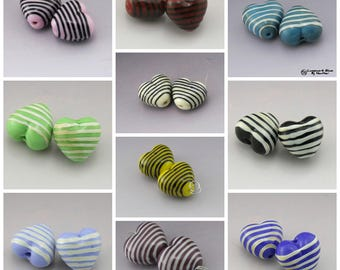 Handmade Lampwork Heart Beads SRA Lampwork Bead Pair Pinstripes Black Ivory Yellow Blue Purple Red Green Earring Pair Heather Behrendt