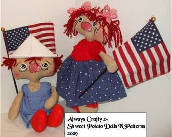 Primitive Americana Raggedy Ann Andy Doll  ePattern Instant Download