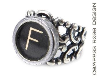 Vintage Ring Typewriter Key Initials  - Steampunk Ring -  Letter F Ring - Name Ring - Custom Initial Ring - Silver Adjustable Ring
