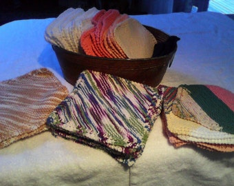 Hand knit cotton dishcloths