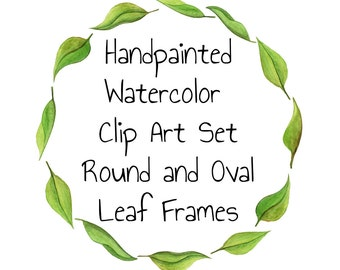 Watercolor Clip Art Wreath Clipart Frames Clipart Leaf Oval Frames wedding clipart wedding signs DIY wedding menu clip art green leaves