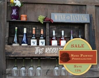SPRING SALE 15%, Personalized, Pallet Wine Rack, Wine Rack, Reclaimed Wood, 8 bottle storage - 8 glass slots, Natural Unfinished