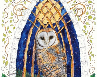 Merlin's Owl and the moon - print