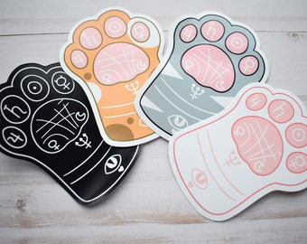 Kawaii Cat Paw Reading Sticker