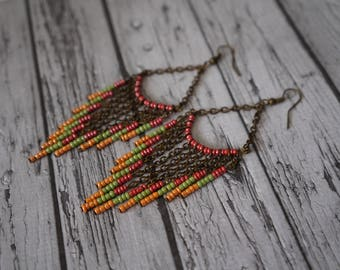 Earrings red, green and orange.