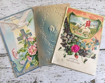 Vintage EASTER Postcards ~Embossed ~Flowers~Chick~ Lamb~ Junk Journal~Scrapbooking ~ Altered Art~ Collage~