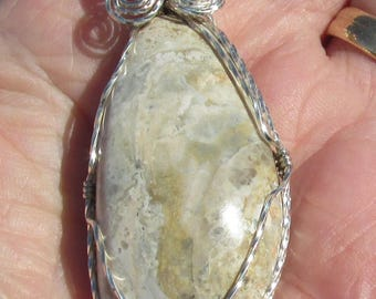 Chert Cabochon wire wrapped pendant in Argentium Sterling Silver