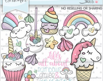 Unicorn Clipart, Unicorn Graphics, COMMERCIAL USE, Life is all about rainbows glitter and unicorns, Planner Accesories, Fairy Tale Clipart