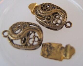 2 - Antiqued Brass Curvy Filigree Oval Box Clasps