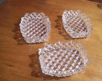 Vintage Clear Pressed Glass Oblong Snack/Tidbit/Bridge Bowls - Set of 3