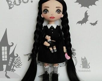 Wednesday Addams Dolls Halloween's Handmade Decor Horror Art Black Dolls Halloween Gift for Girl Cloth Dolls Rag Dolls Soft Toys Goth Dolls