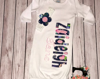 Baby Girl Infant Gown and Accessories