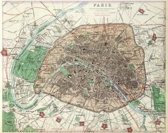 antique french colored map paris france illustration DIGITAL DOWNLOAD