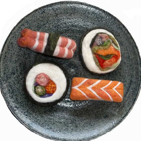 Needle Felted Sushi, Plush Wool Holiday, Christmas Ornaments, play food,  MTO, Set of Four,