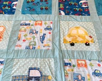 Children's car and truck patchwork quilt.
