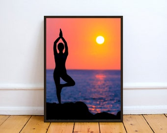 Yoga Sunset Photo,Digital,Download,Decor,Home,Office,Tropical,,Turquoise,Ocean,Gift,Baby Shower,Gift,Coast,Coastal