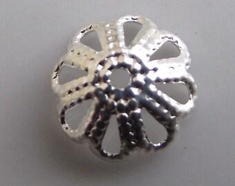 Perforated 8mm diameter silver metal bead caps. Set of 10.