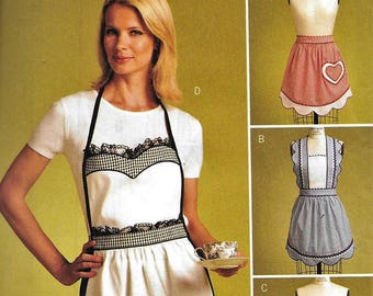 Butterick B5302 Misses Rachel Wallis Aprons Full Bib Farm Half Hostess Sewing Pattern UNCUT Size Small, Medium, Large
