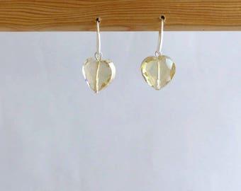 Earrings dangle crystal glass amber