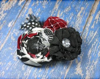 Red, Black, White Headband, Fabric Flower Hair Clip, Ivory, Crimson, Fabric Flower Brooch, Hair Piece, Hair Bow, Flower Hair Accessories
