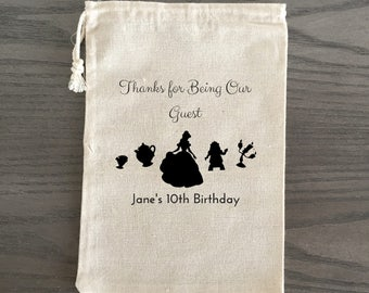 10 Birthday Treat Bags, Birthday Favor Bags, Candy Bags, Birthday Goodie Bags, Children's Birthday Custom - Beauty and the Beast Theme