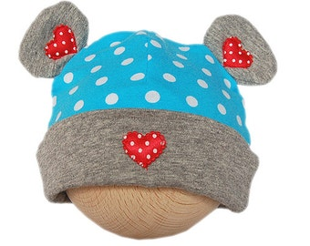Baby hat with bear ears and hearts