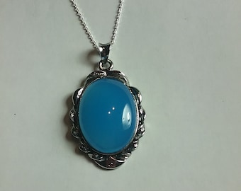 Blue Chalcedony Natural Gemstone Sterling Silver Necklace Jewelry