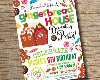 Gingerbread House Invitation, Gingerbread Birthday Party Invitation, Birthday Invitation, PRINTABLE, Gingerbread Birthday Party Invitation