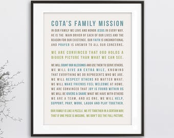 Family Mission Statement, Family Sign, Christian Family Rules Print, Personalized Family Rule Wall Art, Family Statement