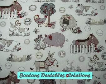 Fabric the farm animals, horses, donkeys, pigs, sheep, chickens, rabbits...