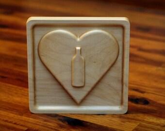 """Wooden I Heart Wine Emoji (5"""") -Bottle"""