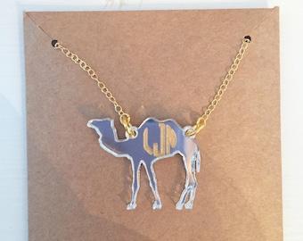 Acrylic Monogrammed Camel Necklace - Camel Jewelry - Campbell Jewelry - Monogrammed Necklace