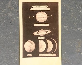 Vintage French Card - Les Planetes