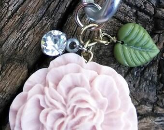 Light Pink Flower Wine Cork Keychain