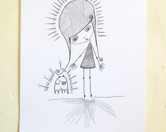 Evangeline - Laser ink print, miss marley original art, limited print, whimsical