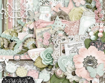 On Sale 50% Off Shabby Chic,Digital Scrapbook Kit, Scrapbooking