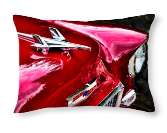 Car Pillow, Car Lover Gift, Antique Car, Chevrolet, Car Decor, Chevy, 1955 Chevy, Bel Air, Hood Ornament, Gift for Men, Gift for Boyfriend